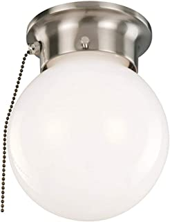 Design House 519272 1 Ceiling Flush Mount Globe Light with Pull Chain, Satin Nickel Finish
