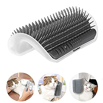 Kimiku Cat Self Groomer Chat même Groomer Massage d'angle pour Chat Gris