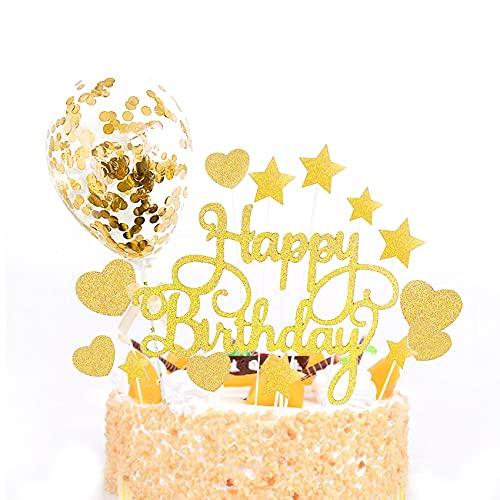JeoPoom Happy Birthday Cake Topper, Decoración para Tarta de Oro, Tartas Decoración, Birthday Decoración para Tarta para Fiestas(Incluir Globo)