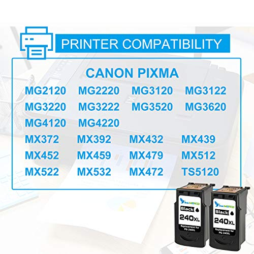 InkWorld Remanufactured 240XL Ink Cartridge Replacement for Canon PG-240 XL Black to Use with Pixma TS5120 MG3620 MG3520 MX472 MG3220 MX452 MX532 MX512 MG2120 MX432 MG3222 MG3122 MG2220 Printer 2-Pack Photo #3