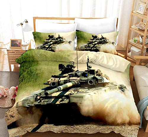 GSYHZL bedding king size duvet set,3d printing tank pattern king bed bedding set, boys' bedroom duvet cover and pillowcase-D_240*220cm(3pcs)