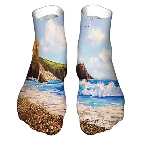 Men's and Women's Funny Casual Socks Painting of a Sea Coast with Rock Beach Shore Wave