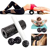 Two in One High Density Foam Roller Set, Back Roller for Deep Tissue Massage and Exercise, Muscle Roller for Back, Yoga Neck, Leg, Arm and Feet
