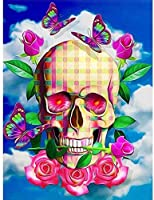 DMFNGJSD 数字油絵 フレーム付き 、数字キット塗り絵 手塗り DIY絵-花スカルスケルトン-デジタル油絵 40x50 cm