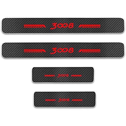 ZGYAQOO 4 Pcs Car Carbon Fiber Leather Door Sill Kick Plates for Peugeot 3008, Scuff Plate Guard Protector Trim Sticker, with High Intensity Reflective Tape