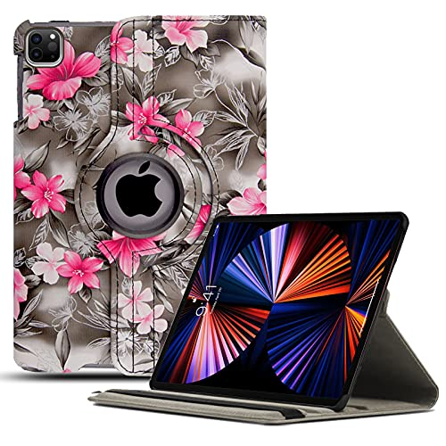 Swivel Case For iPad Pro 12.9 (2021) 5th Gen, Rotating Flip Leather Cover Case Compatible with iPad Pro 12.9 2021 - Pink Flower Dark Grey