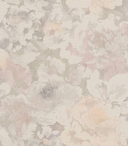 rasch Tapete 455656 aus der Kollektion Florentine II – Vliestapete mit dezenten Aquarell-Pfingstrosen – 10,05m x 53cm (L x B)