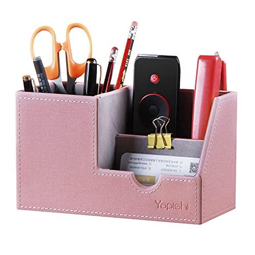 Organizador de escritorio para oficina, organizador de escritorio, 4 compartimentos de memoria, piel sintética, estuche para lápices, suministros de oficina, para artículos de papelería, correos