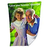 Personalized Blanket Picture or Photo Printing Soft Flannel Throw Blanket for Father Mother Grandma Grandpa (34'X40')