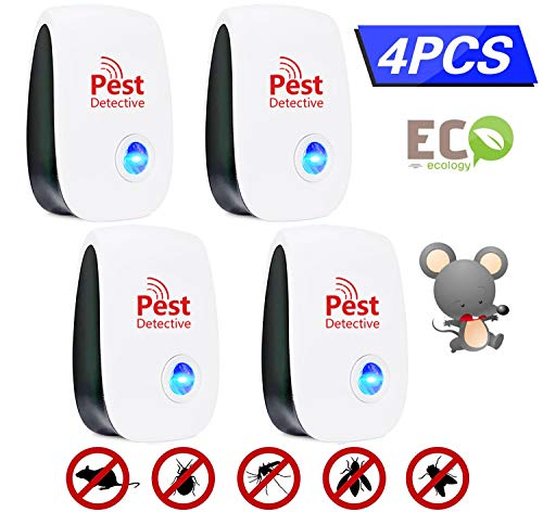 EGEYI Ultraschall Schädlingsbekämpfer, Elektronische Moskitoschutz Innenräumen Pest Control Repeller für Kakerlaken,Mäuse,Fliegen,Mücken, Spinnen, sicher für Menschen und Haustiere (4 Stück)