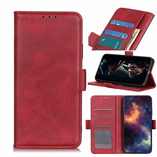 Funda para teléfono Xiaomi Mi 10T Lite 5G, absorción de golpes, tapa de piel sintética, funda protectora magnética, para Xiaomi Mi 10T Lite 5G, con ranuras para tarjetas, color rojo