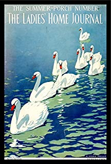 Buyartforless IF VINT1005 1.25 Black Plexi Framed The Ladies Home Journal August 1911 C Coles Phillips 18X12 Vintage Art Print Poster Magazine Cover Reproduction 9 Swans in Water