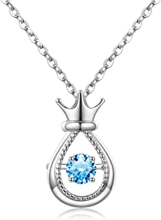 Necklace Jewelry S925 Sterling Silver Crown With Combined Into Square Zirconia Pendant Necklace For Women Teen Girl Pendan...