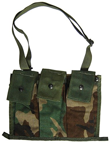 Military Outdoor Clothing Previously Issued US GI Woodland Camo MOLLE II 6 Mag Bandoleer Pouch