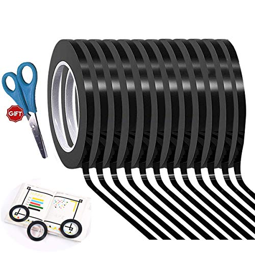 12 Pack Graphic Art Thin Tape 1/8 Inch Wide X 216 Ft Long,Self-Adhesive Whiteboards Dry Erase Line Gridding Tape (Black)