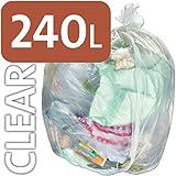 Bolsa de plástico transparente resistente Alina, 240 litros, para contenedores con ruedas, 25 sacks