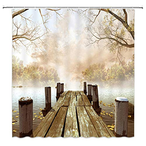 """Natural Scenery Shower Curtains Waterfall Green Meadow Flower Spring Landscape Bathroom Decor Waterproof Cloth Curtain Set 72"""" W x 72"""" H"""
