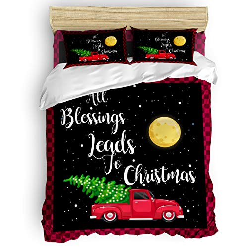 ZOE STORE 4 pcs Full Size Bedding Duvet Cover Set with Zipper and Ties All Blessings Leads to Christmas Moon Car Cozy Quilt Cover Set for Bedroom/Toddler/Guest Room Red and Black Grid Border