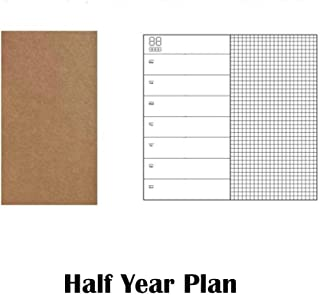 GOUDEDE Gift for the teacher 1PC Refillable Paper Traveler s Notebook Filler Papers Journal Dairy Inserts Refill midori leather notebook blank line kraft,half year plan,for A5 15x22cm