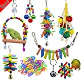 Acidea Package Bird Parrot Swing, chew, Ring Tone and Other Toys - Wall Clock cage Toys Suitable for Parrot, Small Bird, Cornell, Bird, Parrot, Love Bird