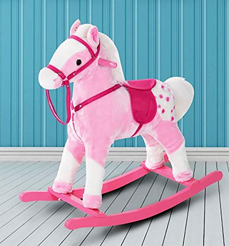 H.M Kids Pink Plush Rocking Pony Horse with Sound Ride-On Children's Toy