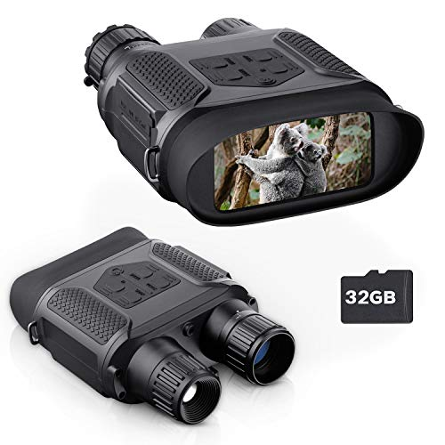 "BNISE Digital Night Vision Binoculars for Completely Darkness Take Images & Videos, 7x31MM Infrared Spy Gear for Hunting & Surveillance - 4"" Large Screen & 1300ft Viewing Range"