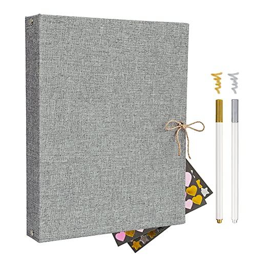 Album Scrapbook,Album de Fotos, Libro de visitas Album de Fotos Boda,con 60 páginas Negras (2pcs*Color Metálico Pluma 2pcs*Metal Pegatina)(gris)