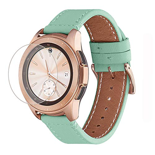 WFEAGL Kompatibel mit Samsung Galaxy Watch Armband 42mm/Gear S2 Classic/Gear Sport/Huawei Watch 2/Huawei Watch GT Elegant,20mm Top Grain Leder Ersatzband(20mm,Mint Green/Gloden)