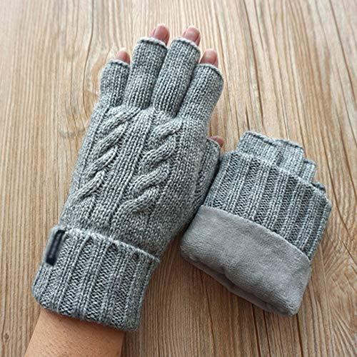 Sksngf Herbst und Winter Schurwolle Warme Handschuhe Plus Samt Double Half Finger Touchscreen-Handschuhe Outdoor-Sportarten Skifahren Herren Plus Samt Kälteschutzhandschuh (Color : Light Gray)