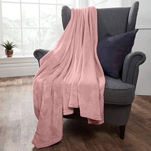 Brentfords Manta de Forro Polar Ultra Suave y Grande para Dormitorio, Cama Individual, sofá, Color Rosa Rubor, 120 x 150 cm