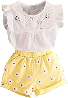 f1c7195bc545 Vovotrade 2PCS Set Toddler Kids Baby Girls Outfits Clothes T-shirt Vest  Tops+Shorts