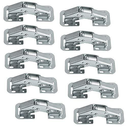 Gedotec Möbelscharnier Caravan-Scharnier EASY MONT | Aufschraubscharnier mit Feder | Klappen-Scharnier Stahl verzinkt | Scharnier für Klappen & Möbel | 10 Stück - Aufschraubbänder mit Schließautomatik