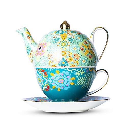 LRX Tetera Servicio de té Té para una Tetera y Taza, Conjunto de cerámica Retro Tetera Individual Menta Verde, Conjunto de té de Estilo británico, Conjunto de Taza de té