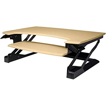 Ergotron 33-433-02 Foldable Compact Sitting to Standing Desk Converter with Phone/Tablet Slot and Cord Management, Birch Finish