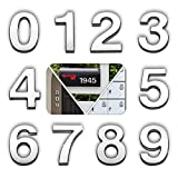 4 Inch Mailbox Numbers 0 to 9, Self-Stick Silver Address Number Stickers for House/Apartment/Office Building, Set of 10, 3D Model, with Metal Shiny, by hopewan.