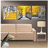 Wandbilder Leinwand Malerei 3 Stücke Gelb Woods Hd Drucke