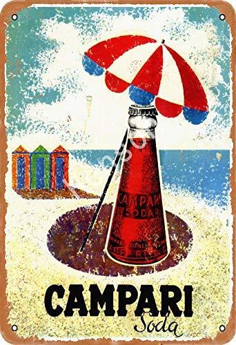 Campari Soda Jahrgang Blechschild Kunst Eisenmalerei rostig Poster Dekoration Aluminium Plakette Zum Hotel Café Schule Büro Garage
