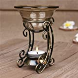 AUCH Vintage Bronze Metal Tealight Candle Holder with Tawny Glass Fragrant Oil Warmer, Great Gift...