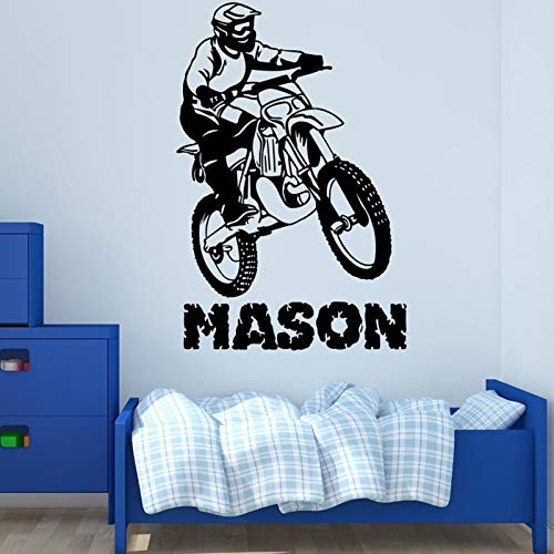 sanzangtang Motorfiets wedstrijd muur sticker aangepaste naam muur decoratie kleuterschool fiets sticker vinyl muurschildering