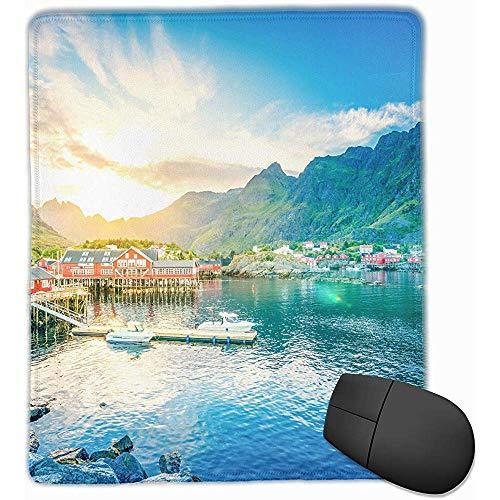Anti-slip rubberen voet muismat voor laptop computer PC persoonlijkheid Desings Gaming muismat (mooi Noorwegen Lake Mountains House, 18 x 22 CM)