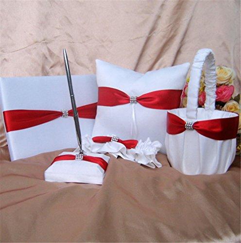 5-Piece Rhinestone Heart Guest Book Set with Pen Wedding Ring Pillow/Flower Girl Basket and 2 Garters