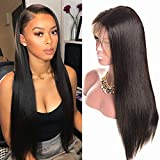 360 pelucas frontales de encaje Virginal brasileño recto 100% pelo humano verdadero 360 Lace front wigs for black women brezilian human hair Straight (16inch /40cm, color natural)