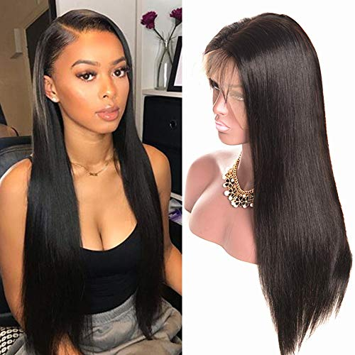 Echthaar perücke Human Hair 360 lace front wig straight smooth natural hair Echthaarperücken für schwarze Frauen real remy brazilian hair (20 inch/50 cm, Natürliche)