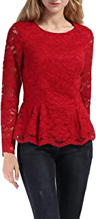 VERO VIVA Women's Floral Lace Round Neck Long Sleeve Shirt Fits Tuinc Blouse Top
