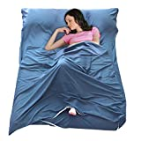 jia he sport Sleeping Bag Liner Lightweight Dirt-Proof Camping Travel Sheet Zippered Portable Adult Sleep Bag Sack Insert for Hotel Outdoor Picnic Traveling Backpacking (Blue, 82.7' x 70.9')