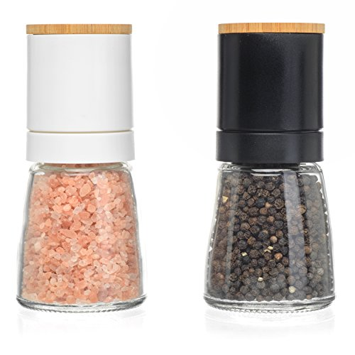 Salt and Pepper Grinder Set - Adjustable Grind Coarseness, Novelty Beech Wood Lid Design, Best Salt & Black Pepper Grinders Shakers, Great Kitchen Gift Idea (S&P Beech Wood)