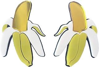 WLLAY Personality Banana Stud Earrings Cute Acrylic Fruit Earring for Women Girls Statement Jewelry Brincos
