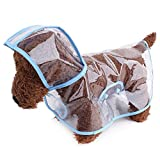 Topsung Dog Raincoat Waterproof Puppy Jacket Pet Rainwear Clothes for Small Dogs Cats Blue
