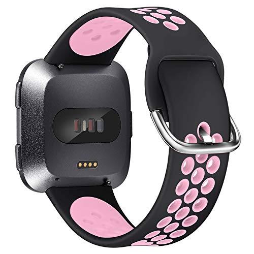 XIMU Compatible con Fitbit Versa/Versa 2/Versa Lite Correa de Recambio Tejida,Silicona de Sport Mujeres Ccorreas de Fitbit Versa/Versa 2/Versa Lite (S (5,9-7,6 Inch), Polvo Negro)