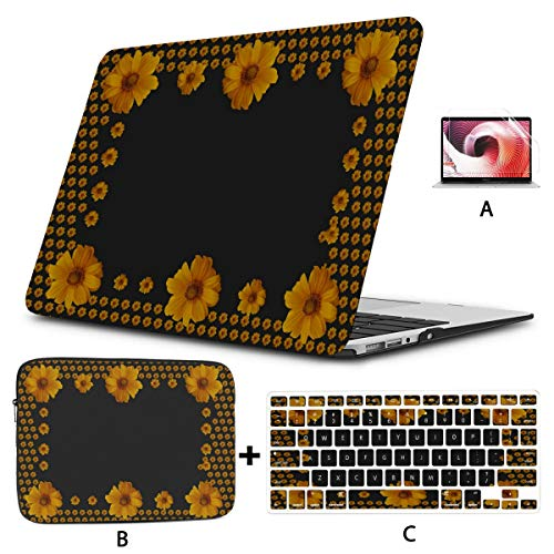 Mac Air Case Sunflower Photo Frame On Black Mac Book Cases Hard Shell Mac Air 11'/13' Pro 13'/15'/16' with Notebook Sleeve Bag for MacBook 2008-2020 Version